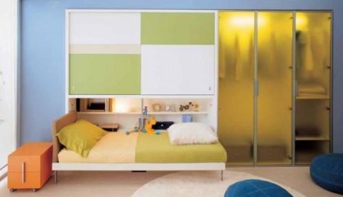 genç odası, yatak ve dolap dekorasyonu