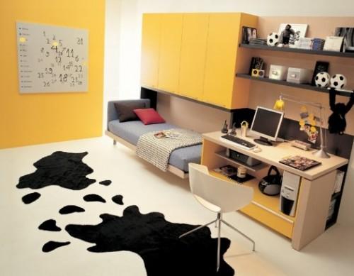 genç odası, kapalı yatak, çalışma ve dolap dekorasyonu