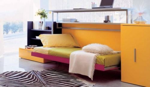 genç odası, katlanan yatak dekorasyonu