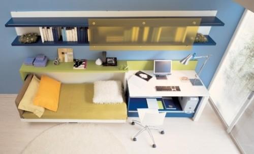 genç odası, çalışma alanı ve yatak dekorasyonu