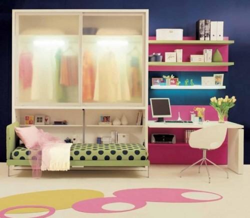 genç odası, çalışma alanı ve dolap dekorasyonu